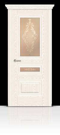 Межкомнатная дверь Элеганс-2 Беленый ясень стекло