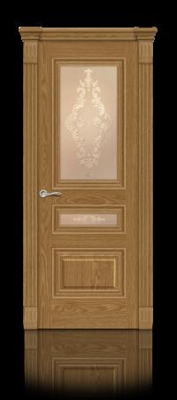 Межкомнатная дверь Элеганс-2 Дуб медовый стекло