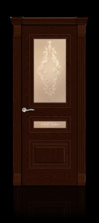 Межкомнатная дверь Элеганс-2 Ясень шоколад стекло