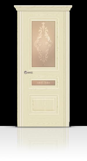 Межкомнатная дверь Элеганс-2 Ясень ваниль стекло