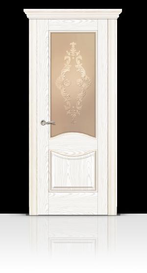 Межкомнатная дверь Онтарио Белы ясень стекло