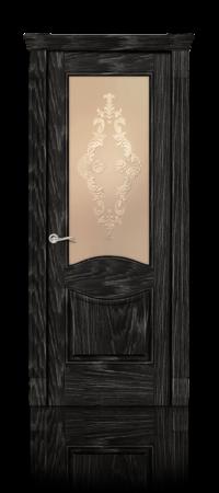 Межкомнатная дверь Онтарио Черный абрикос стекло