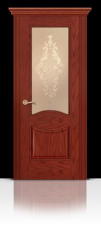 Межкомнатная дверь Онтарио Красное дерево стекло