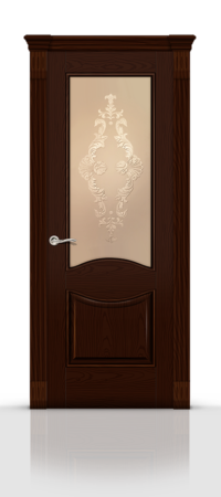 Межкомнатная дверь Онтарио Ясень шоколад стекло