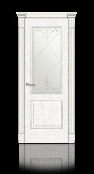Межкомнатная дверь Бристоль Белый ясень стекло