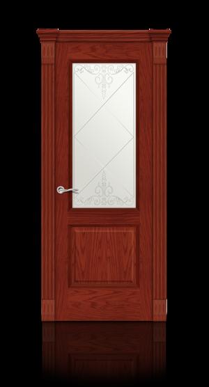 Межкомнатная дверь Бристоль Красное дерево стекло