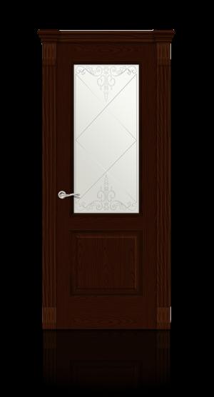 Межкомнатная дверь Бристоль Ясень шоколад стекло