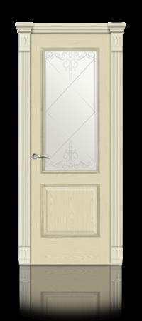 Межкомнатная дверь Бристоль Ясень ваниль стекло