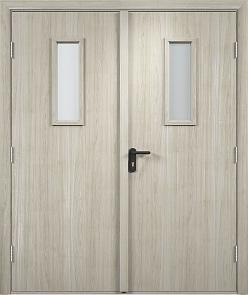 Противопожарная дверь ДПО + ДПО стекла огнеупорные (Экошпон)3