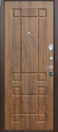 Дверь мет. 10 см Троя медный антик грецкий орех (960мм) правая (СЗ мин.плита; ручка HS22)